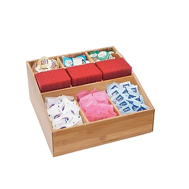 Mind Reader Square 9-Compartment Condiment Organizer, Bamboo Wood (Comp9Bmb-Brn)