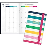 "2019-2020 AT-A-GLANCE 3 5/8"" x 6 3/16"" Simplified Academic 2 Year Monthly Pocket Planner, Happy Stripe (EL200-021A-20)"