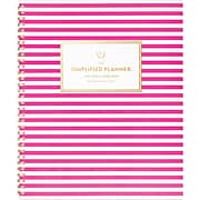 "2019-2020 AT-A-GLANCE 8 3/8"" x 11"" Simplified Academic Monthly Planner, Pink Stripe (EL200-900A-20)"