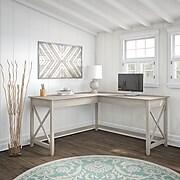 Bush Furniture Key West 60W L Shaped Desk, Washed Gray (KWD160WG-03)