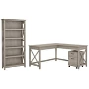 Bush Furniture Key West 60W L Shaped Desk with Mobile File Cabinet and 5 Shelf Bookcase, Washed Gray (KWS016WG)