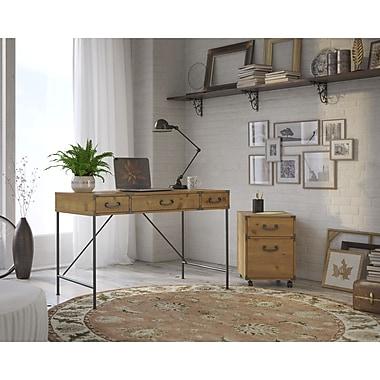 kathy ireland® Office by Bush Furniture Ironworks 48W Writing Desk and 2-Drawer Mobile Pedestal, Vintage Golden Pine (IW001VG)