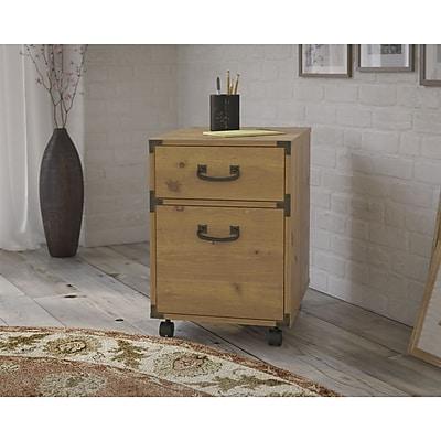 kathy ireland® Office by Bush Furniture Ironworks 2-Drawer Mobile Pedestal, Vintage Golden Pine (KI50102-03)