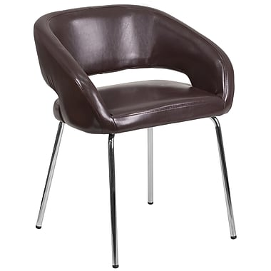Fusion Series Contemporary Brown Leather Side-Reception-Lounge Chair (CH-162731-BN-GG)