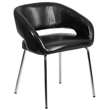 Fusion Series Contemporary Black Leather Side-Reception-Lounge Chair (CH-162731-BK-GG)