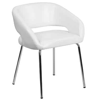 Fusion Series Contemporary White Leather Side-Reception-Lounge Chair (CH-162731-WH-GG)