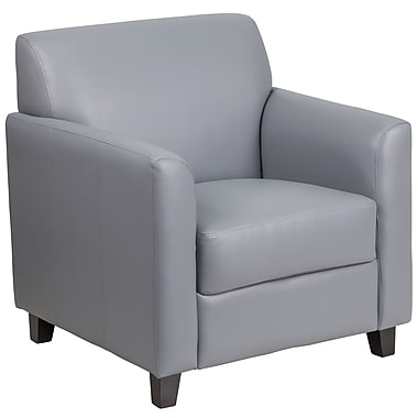 HERCULES Diplomat Series Grey Leather Chair (BT-827-1-GY-GG)