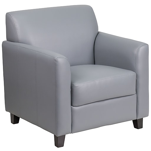 HERCULES Diplomat Series Gray Leather Chair (BT-827-1-GY-GG)