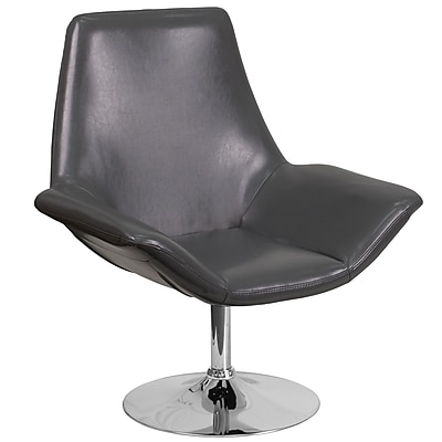 HERCULES Sabrina Series Gray Leather Reception Chair (CH-102242-GY-GG)