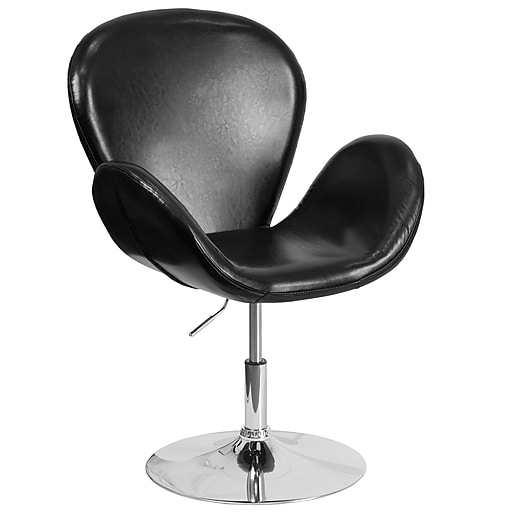HERCULES Trestron Series Black Leather Reception Chair with Adjustable Height Seat [CH-112420-BK-GG]