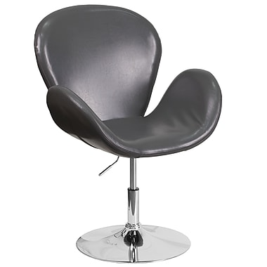 HERCULES Trestron Series Grey Leather Reception Chair with Adjustable Height Seat (CH-112420-GY-GG)