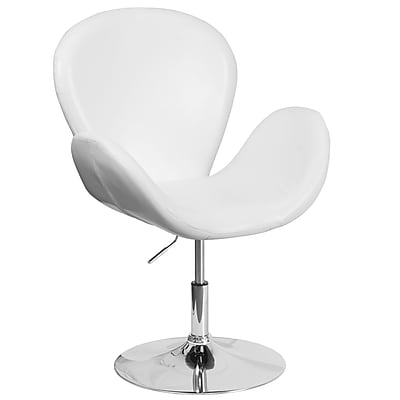 HERCULES Trestron Series White Leather Reception Chair with Adjustable Height Seat (CH-112420-WH-GG)