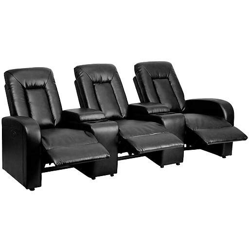 Leather Theater Seating [BT-70259-3-P-BK-GG]