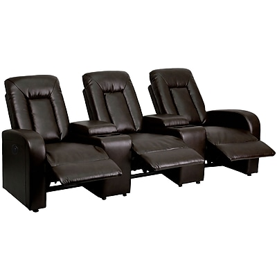 Leather Theater Seating [BT-70259-3-P-BRN-GG]