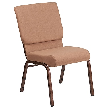 HERCULES Series 18.5''W Caramel Fabric Stacking Church Chair with 4.25'' Thick Seat, Copper Vein Frame (FD-CH02185-CV-BN-GG)