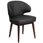 Comfort Back Series Black Leather Reception-Lounge-Office Chair with Walnut Legs (BT-1-BK-GG)