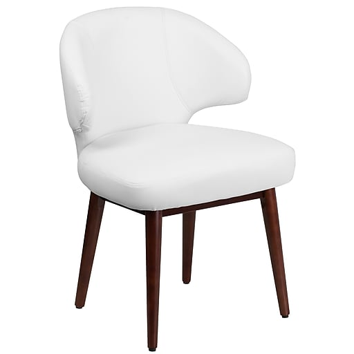 Comfort Back Series White Leather Reception Lounge Office Chair With Walnut Legs Bt 2 Wh Gg