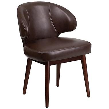 Chaise de bureau-salon-réception série Comfort Back en cuir brun avec pattes en noyer (BT-4-BN-GG)
