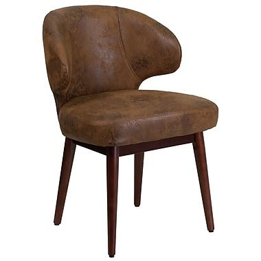 Chaise de bureau-salon-réception série Comfort Back en microfibre style blouson d'aviateur avec pattes en noyer (BT-5-BOM-GG)
