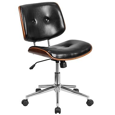 Chaise de travail pivotante et ergonomique à dossier mi-dos en bois et en cuir noir (SD-2658-5-GG)