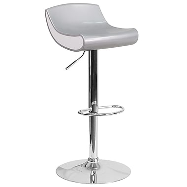 Contemporary Silver and White Adjustable Height Plastic Barstool with Chrome Base (CH-101010-SIL-GG)