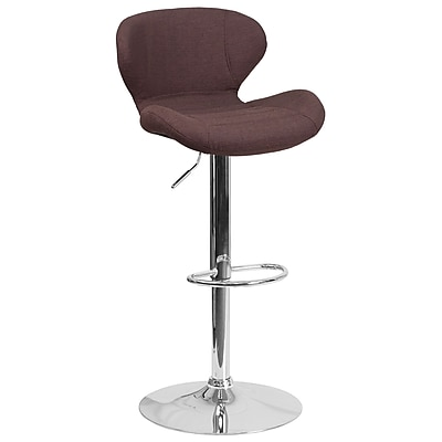 Contemporary Brown Fabric Adjustable Height Barstool with Chrome Base (CH-321-BRNFAB-GG)