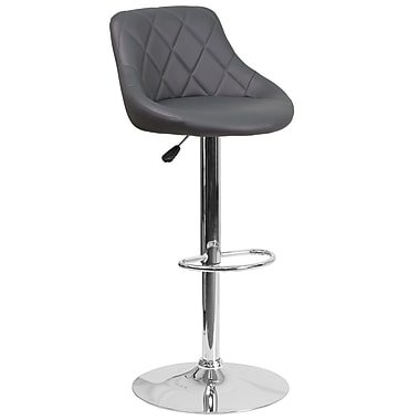 Contemporary Grey Vinyl Bucket Seat Adjustable Height Barstool with Chrome Base (CH-82028A-GY-GG)
