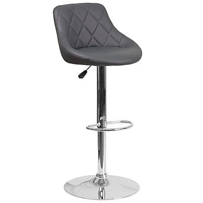 Contemporary Gray Vinyl Bucket Seat Adjustable Height Barstool with Chrome Base (CH-82028A-GY-GG)