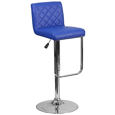 Contemporary Blue Vinyl Adjustable Height Barstool with Chrome Base (DS-8101-BL-GG)