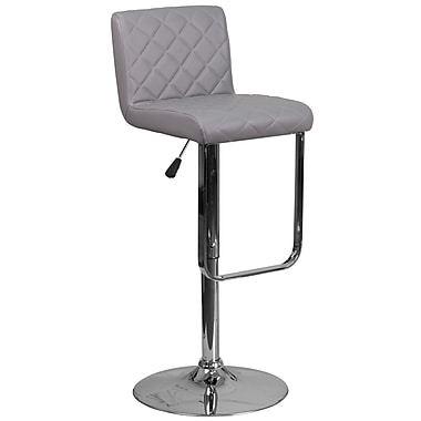 Contemporary Grey Vinyl Adjustable Height Barstool with Chrome Base (DS-8101-GY-GG)
