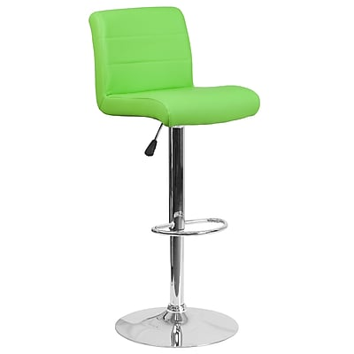 Contemporary Green Vinyl Adjustable Height Barstool with Chrome Base (DS-8101B-GN-GG)