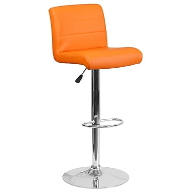 Tabouret de bar contemporain à hauteur ajustable en vinyle orange avec base chromée (DS-8101B-OR-GG)