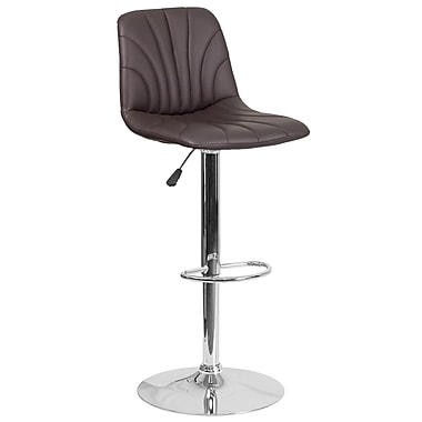 Contemporary Brown Vinyl Adjustable Height Barstool with Chrome Base (DS-8220-BRN-GG)