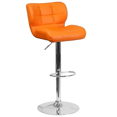 Tabouret de bar contemporain à hauteur ajustable en vinyle matelassé orange avec base chromée (SD-SDR-2510-OR-GG)