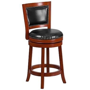 Tabouret de comptoir en bois de cerisier pâle avec siège pivotant en cuir noir, 26 po de haut (TA-355526-LC-CTR-GG)