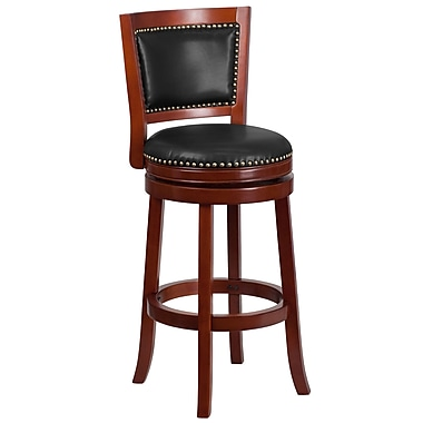 30'' High Dark Cherry Wood Barstool with Walnut Leather Swivel Seat (TA-355530-DC-GG)