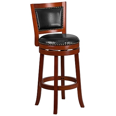 30'' High Light Cherry Wood Barstool with Black Leather Swivel Seat (TA-355530-LC-GG)