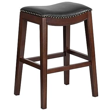 Tabouret de bar en bois cappuccino de 30 po sans dossier avec siège en cuir noir (TA-411030-CA-GG)