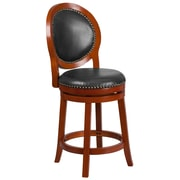 26'' High Light Cherry Counter Height Wood Barstool with Walnut Leather Swivel Seat (TA-550126-LC-GG)