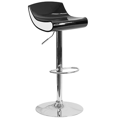 Contemporary Black and White Adjustable Height Plastic Barstool with Chrome Base (CH-101010-BK-GG)