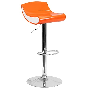 Contemporary Orange and White Adjustable Height Plastic Barstool with Chrome Base (CH-101010-OR-GG)