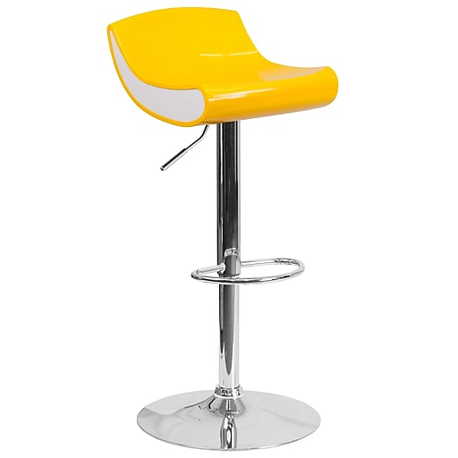 Contemporary Yellow and White Adjustable Height Plastic Barstool with Chrome Base (CH-101010-YL-GG)