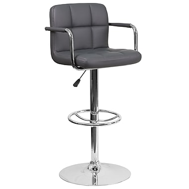 Contemporary Grey Quilted Vinyl Adjustable Height Barstool with Arms and Chrome Base (CH-102029-GY-GG)