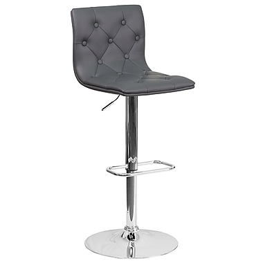Contemporary Tufted Grey Vinyl Adjustable Height Barstool with Chrome Base (CH-112080-GY-GG)