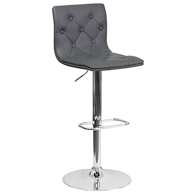 Contemporary Tufted Gray Vinyl Adjustable Height Barstool with Chrome Base (CH-112080-GY-GG)