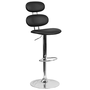 Contemporary Black Vinyl Adjustable Height Barstool with Chrome Base (CH-112280-BK-GG)