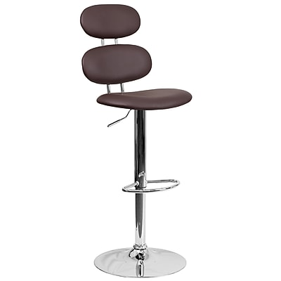 Contemporary Brown Vinyl Adjustable Height Barstool with Chrome Base (CH-112280-BRN-GG)