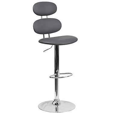 Contemporary Grey Vinyl Adjustable Height Barstool with Chrome Base (CH-112280-GY-GG)