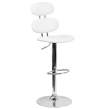 Contemporary White Vinyl Adjustable Height Barstool with Chrome Base (CH-112280-WH-GG)