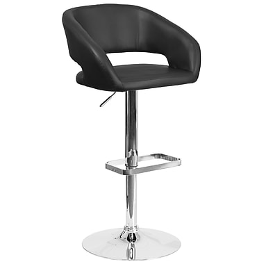 Contemporary Black Vinyl Adjustable Height Barstool with Chrome Base (CH-122070-BK-GG)